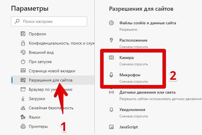 Разрешить доступ к веб-камере